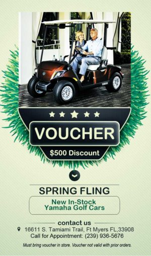 Coastal Carts Spring Fling 2017 - Save $500 on a 2017 In Stock0 Yamaha with Voucher