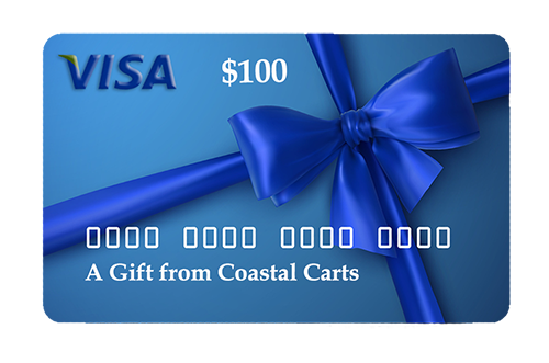 Visa 100 gift card offered by coastal carts