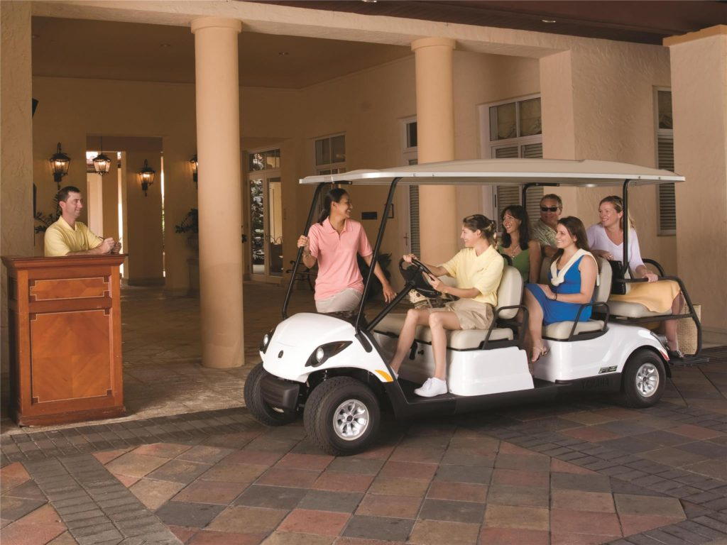 Concierge 6 commercial people mover golf cart available at Coastal Carts