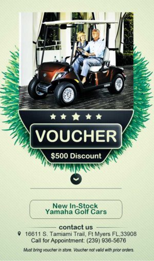 Sale on new 2017 Drive2 - Print this voucher for a discount at Coastal Carts!